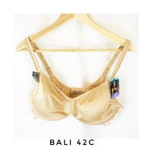 NWT Bali 42C Back Smoothing Bra Underwire Beige